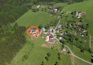 poloha chaty z leteckého pohledu